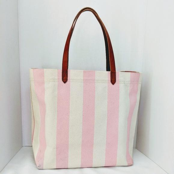 7ba7992c6b97d Madewell Handbags - Madewell Pink Striped Canvas Transport Tote